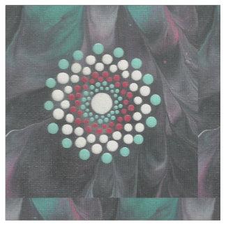 Tecido Mandala vermelha do ponto do branco e da turquesa
