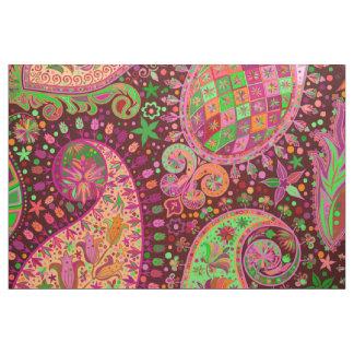 Tecido Mão retro Boho colorido da paz do hippy