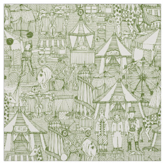 Tecido marfim retro do verde do circo