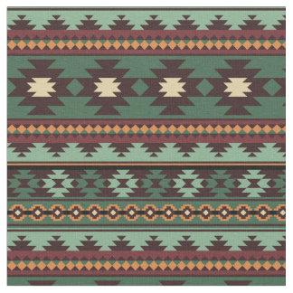 Tecido Marrom verde tribal do sudoeste