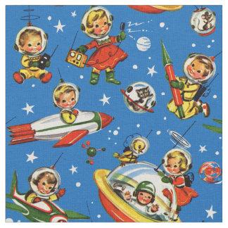 Tecido miúdos dos anos 50 no espaço - UFOs e Rockets