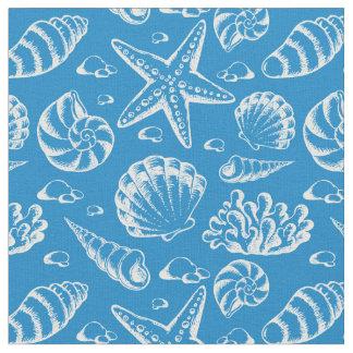 Tecido Monograma azul 2 do teste padrão | da praia