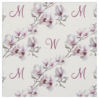 Tecido Monograma chique elegante da magnólia do primavera