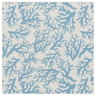 Tecido Monograma coral azul do teste padrão |