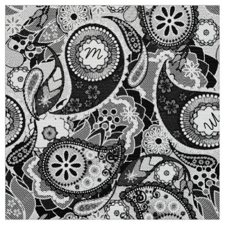 Tecido Monograma MIPH preto de Paisley/branco de