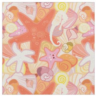 Tecido Monograma Pastel das criaturas | do mar