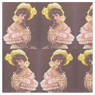 Tecido mulher dos 1890s no impressão frilly do vestuário