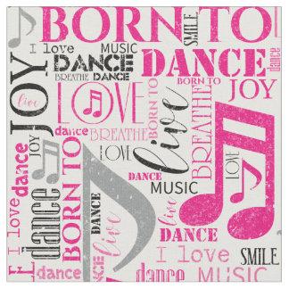 Tecido Nascer para dançar ID277 cor-de-rosa/preto