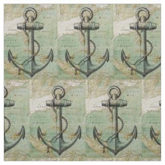 Tecido náutico antigo do mapa & da âncora pela
