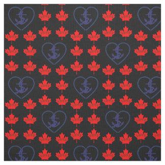 Tecido náutico do coração da âncora de Canadá do