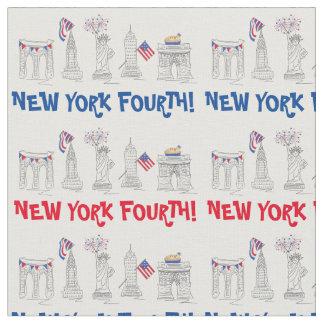 Tecido New York quarta! Fogos-de-artifício patrióticos do