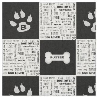 Tecido Nome e monograma preto e branco do osso de cão |