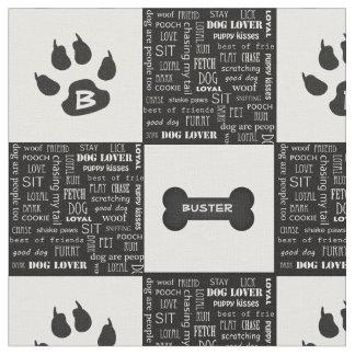 Tecido Nome e monograma preto e branco do osso de cão  