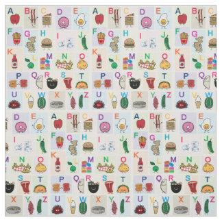Tecido O alfabeto de ABC que aprende alimentos felizes