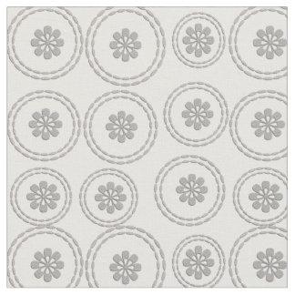 Tecido O cinza de prata chique floresce o branco floral