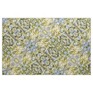 Tecido O hydrangea azul e branco-amarelado floresce a