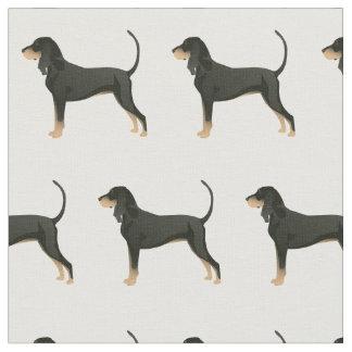 Tecido O preto e a silhueta do Coonhound de Tan telharam