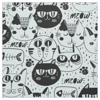 Tecido O preto ID480 do Meow dos gatos