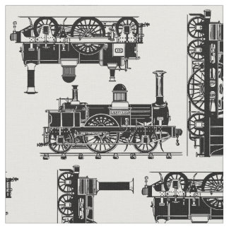 Tecido O vapor treina locomotivas clássicas do Victorian