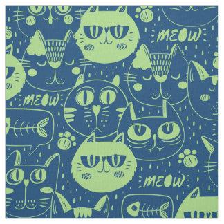 Tecido O verde limão ID480 do Meow dos gatos