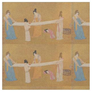 Tecido oriental do impressão das mulheres e das