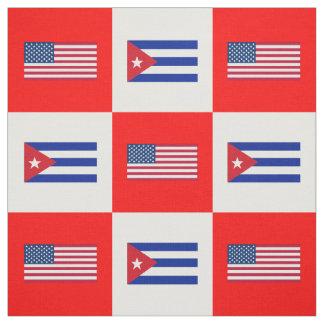 Tecido Os Estados Unidos embandeiram, bandeira de Cuba na