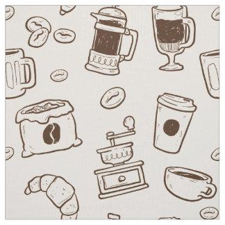 Tecido Os feijões de café de Brown ilustraram o teste