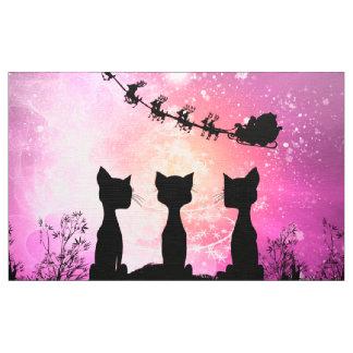 Tecido Os gatos olham ao céu a Papai Noel