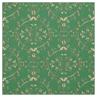Tecido Ouro e impressão verde do damasco do feriado