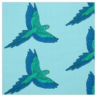 Tecido Papagaio em vôo, Aqua e azuis cobaltos