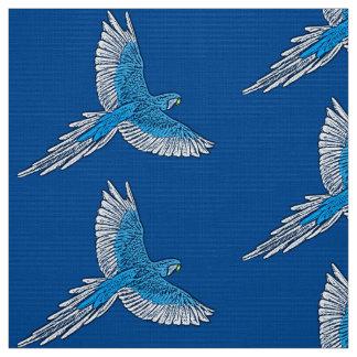 Tecido Papagaio em vôo, azuis cobaltos e branco