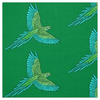 Tecido Papagaio em vôo, verde de jade e turquesa