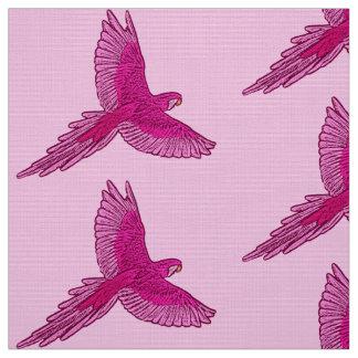 Tecido Papagaio rosa em vôo, do fúcsia e do gelo