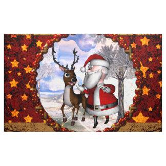 Tecido Papai Noel engraçado com rena