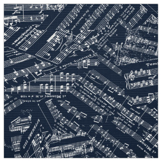 Tecido Partes de música brancas/POMV azul