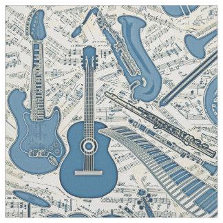 Tecido Partitura e instrumentos azuis/marfim ID481