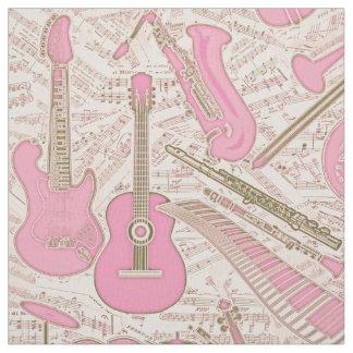 Tecido Partitura e instrumentos cor-de-rosa/marfim ID481