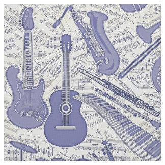 Tecido Partitura e instrumentos roxos/marfim ID481