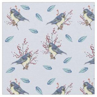 Tecido Pássaros e bagas pequenos