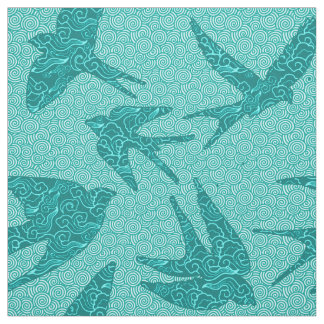 Tecido Pássaros japoneses em vôo, turquesa e Aqua