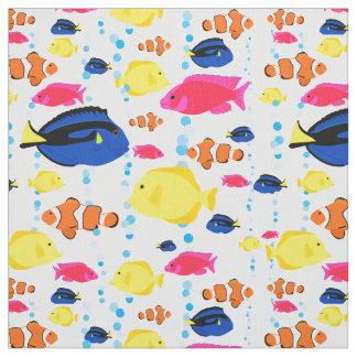 Tecido Peixes e bolhas tropicais lunáticos bonitos