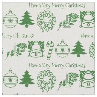 Tecido Personalize: Arte verde/branca do Natal da pia