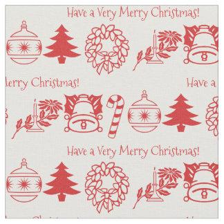Tecido Personalize: Arte vermelha/branca do Natal da pia