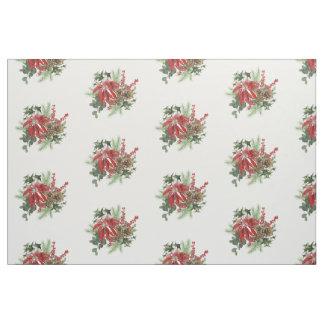 Tecido poinsétia moderna do feriado do vintage floral