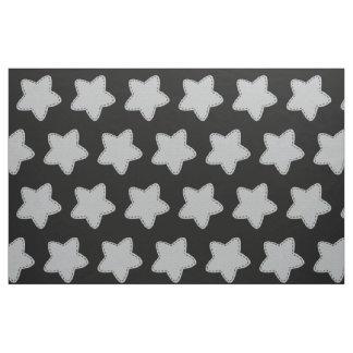 Tecido Preto bonito do teste padrão de estrelas do cinza