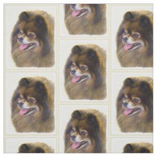 Tecido Preto e Tan de Pomeranian que pintam a arte