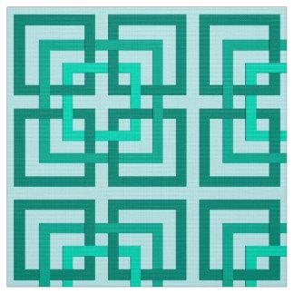 Tecido Quadrados, Aqua e turquesa geométricos modernos