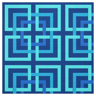 Tecido Quadrados, cobalto e azul-céu geométricos modernos