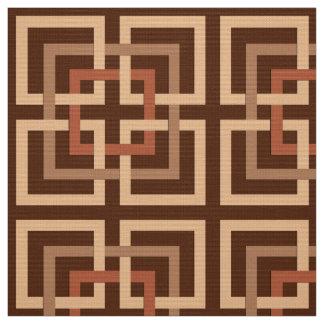 Tecido Quadrados geométricos, castanho chocolate modernos