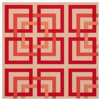 Tecido Quadrados geométricos modernos, laranja coral &